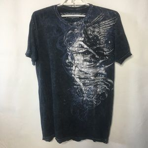 Affliction T-shirt Gray Factory Distressed Angel